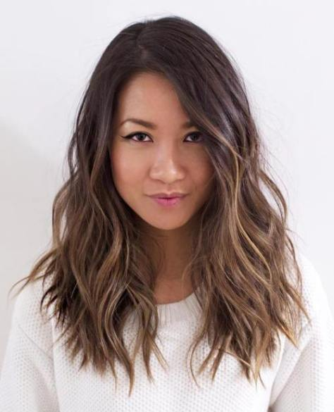 Brunette Layered Wavy Hairstyle