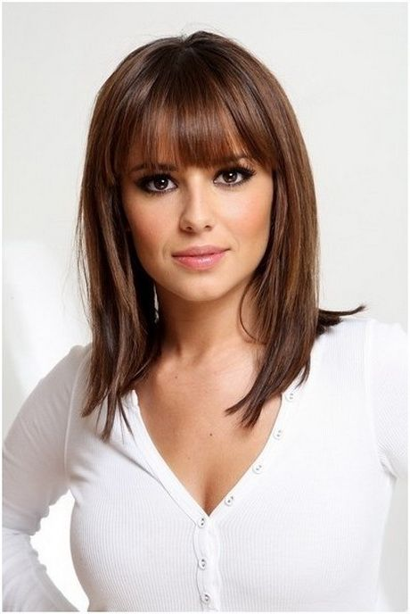 Medium Length Straight Hairstyle with Bangs