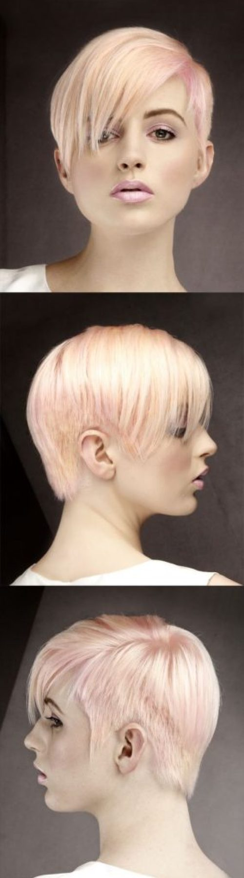 Straight Pink Pixie with Side Swept Bangs