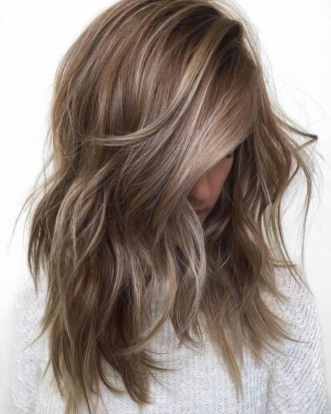 Brown Wavy Hair with Highlights