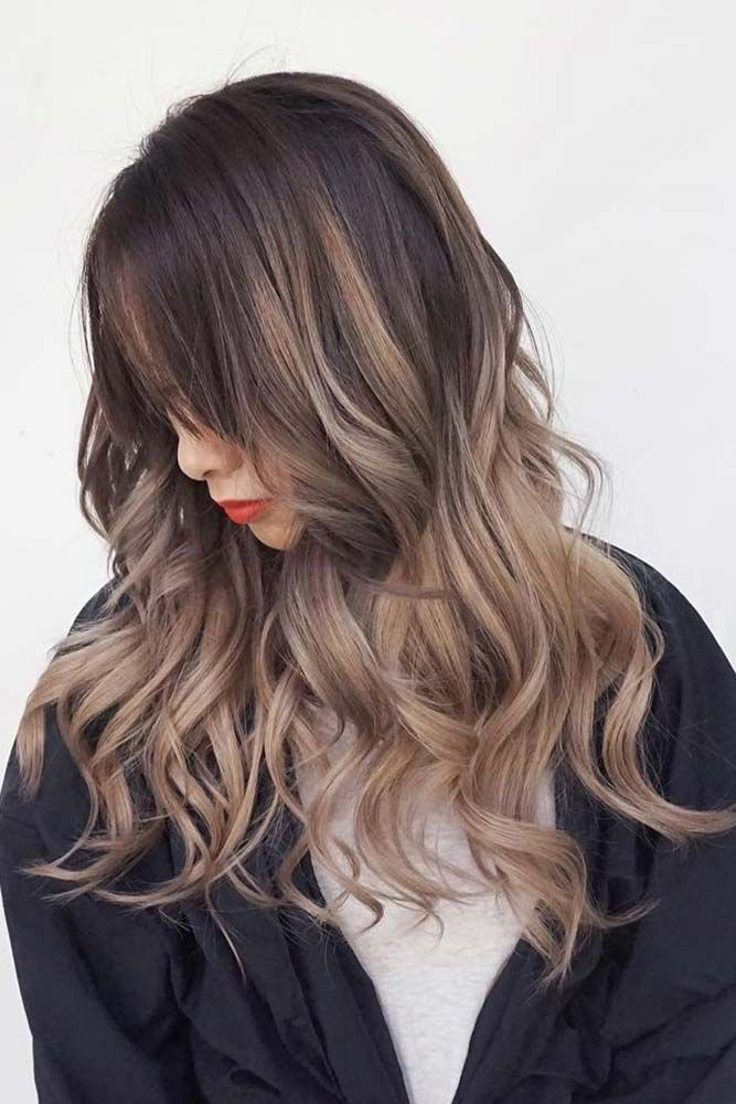 Brunette Long Layered Wavy Haircut