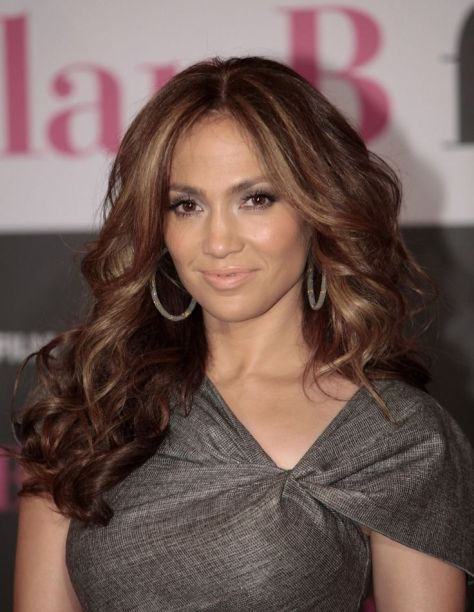 Center Parted Hair with Soft Caramel Highlights