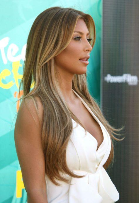 Asymmetrical Caramel Highlights for Long Hair