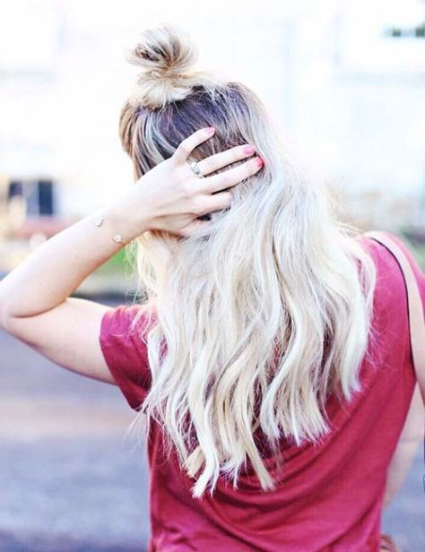 Long Blonde Hair with High Top Knot