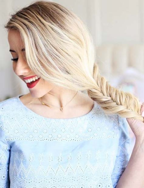 Long Blonde Hair with Side Fishtail Braid