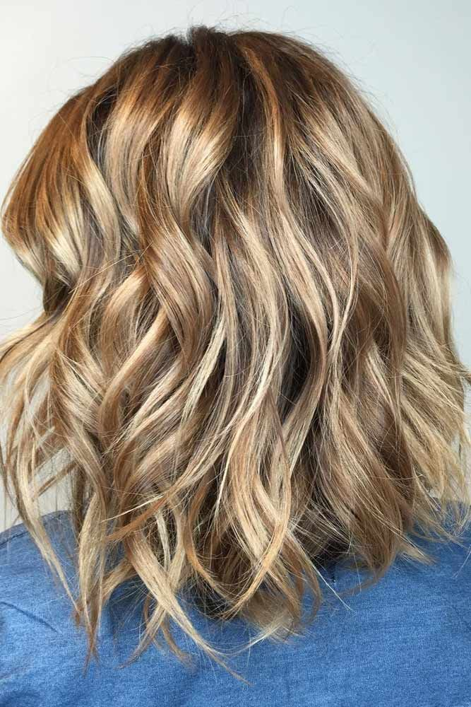Wavy Lob with Light Brown Hair Color