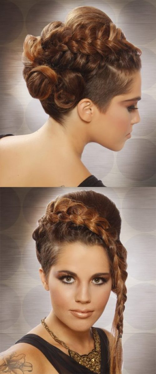 Brunette Long Braided Updo Hairstyle