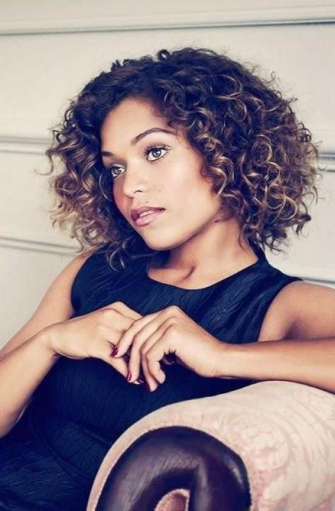 Curly Short Hair with Caramel Highlights