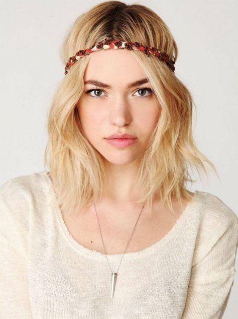 Bohemian Hairstyle for Short Blonde Hair