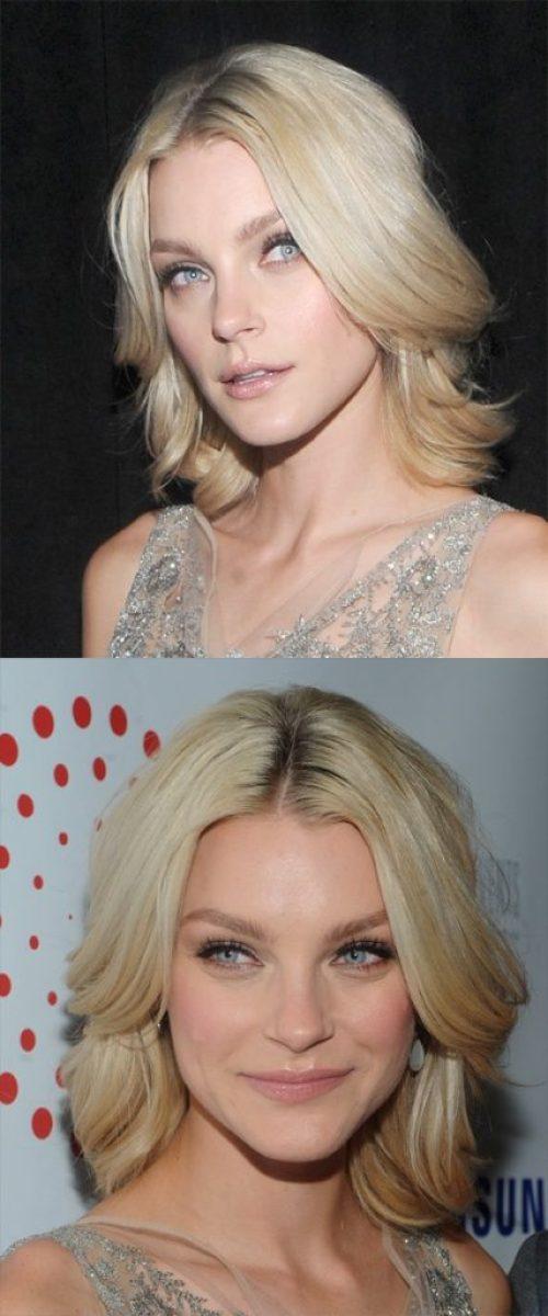 Light Blonde Medium Layered Hairstyle
