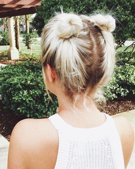 Space Bun Updo for Short Hair