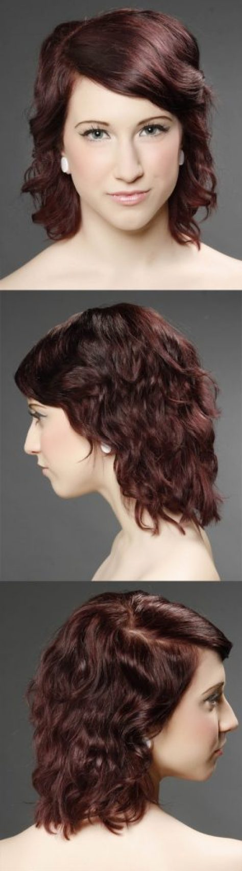 Medium Wavy Burgundy Hair with Side Swept Bangs