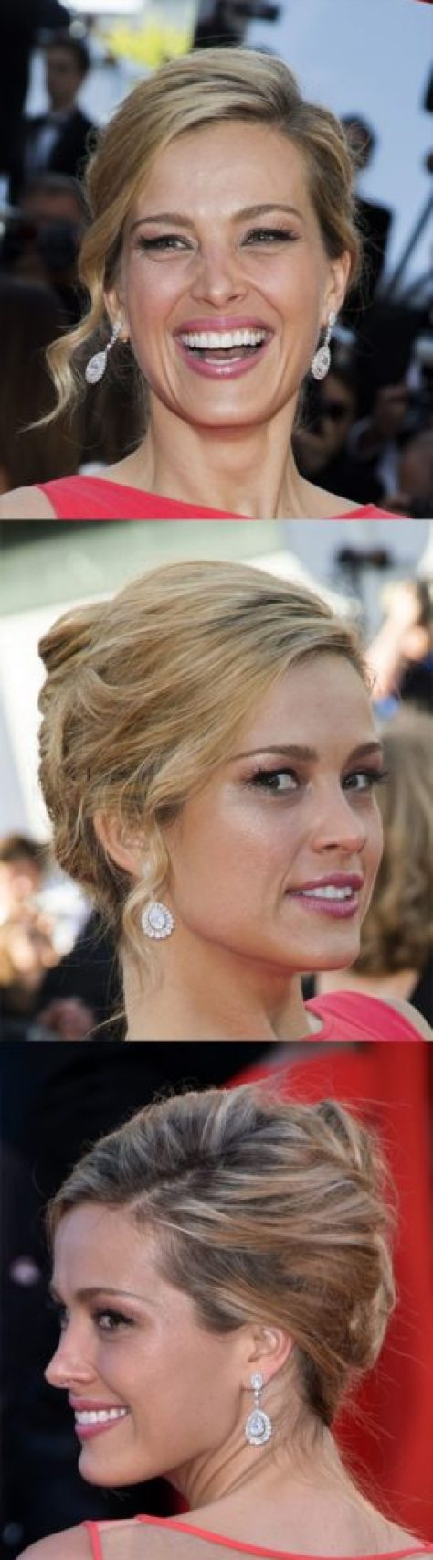 Messy Blonde Wavy Updo Hairstyle