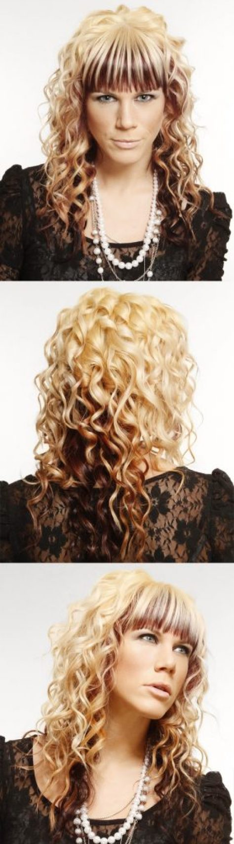 Light Blonde Curly Hair with Bangs