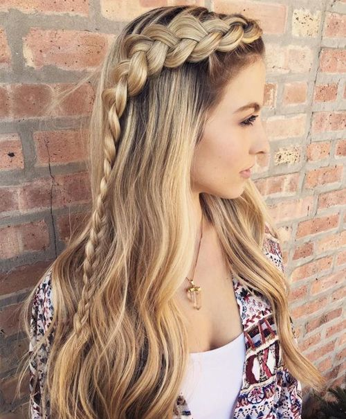 Side Braided Blonde Wavy Hair