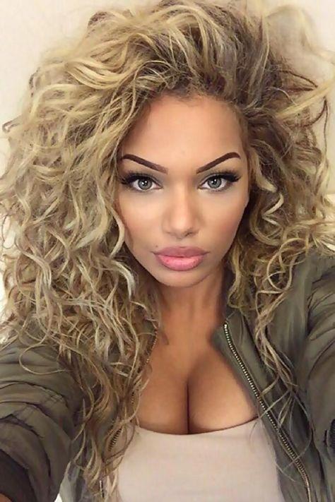 Messy Blonde Long Curly Hair