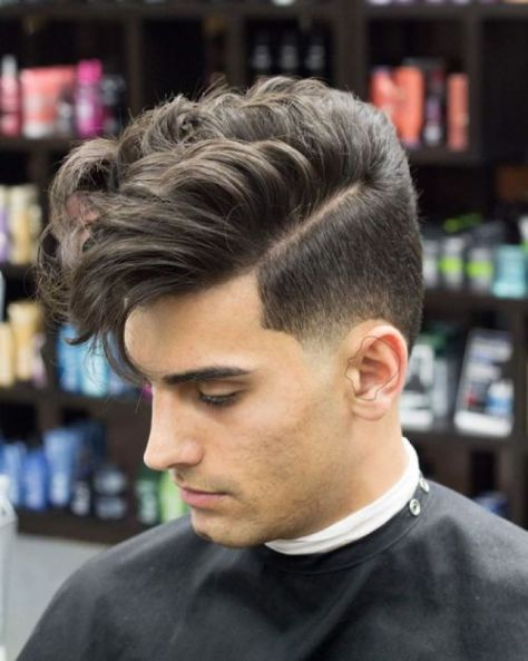Curly Side Parted Undercut Hair