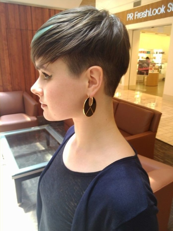Brown Pixie Haircut with Green Highlights