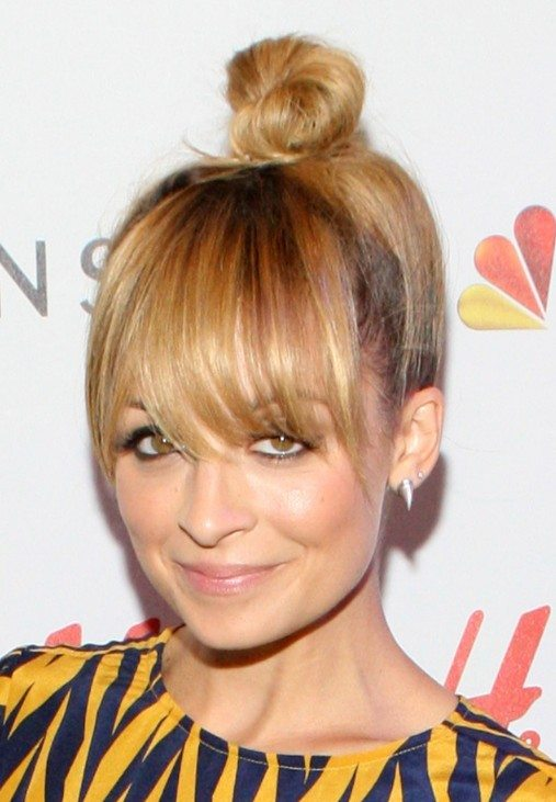 Top Knot with Full Bangs