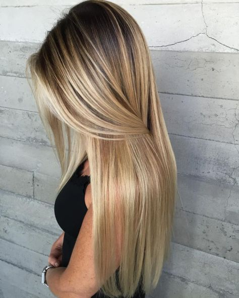 Blonde Ombre Long Straight Hair