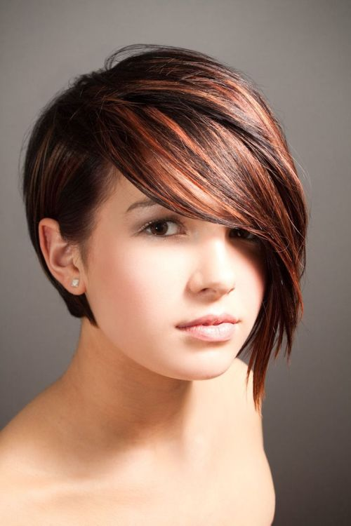 Short Hairstyle with Long Side Bangs