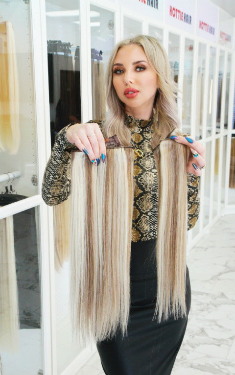 Women Showing Clip In + Halo Hair Extensions in Las Vegas at Hottie Hair Store Las Vegas