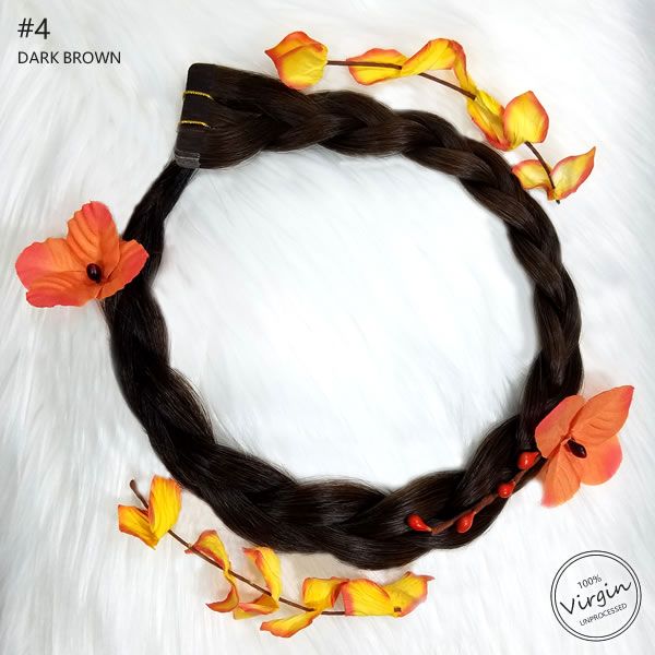 Virgin-Tape-In-Hair-Extensions-Dark-Brown-4-Boho-Wreath-Braid-Flowers.fw