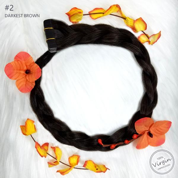 Virgin-Tape-In-Hair-Extensions-Darkest-Brown-2-Boho-Wreath-Braid-Flowers.fw