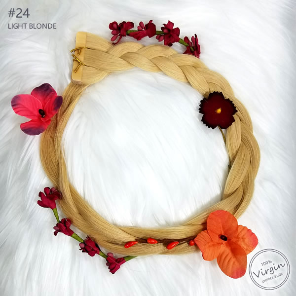 Virgin-Tape-In-Hair-Extensions-Light-Blonde-24-Boho-Wreath-Braid-Flowers.fw
