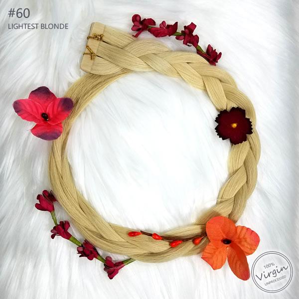Virgin Tape In Hair Extensions Lightest Blonde 60 Boho Wreath Braid Flowers.fw