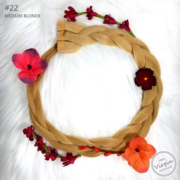 Virgin-Tape-In-Hair-Extensions-Medium-Blonde-22-Boho-Wreath-Braid-Flowers.fw