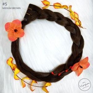 Virgin-Tape-In-Hair-Extensions-Medium-Brown-5-Boho-Wreath-Braid-Flowers.fw