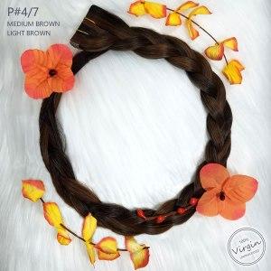 Virgin-Tape-In-Hair-Extensions-Medium-Brown-Light-Brown-4-7-Boho-Wreath-Braid-Flowers.fw