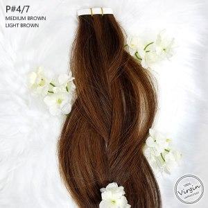 Virgin-Tape-In-Hair-Extensions-Medium-Brown-Light-Brown-4-7-Braid-Flowers.fw