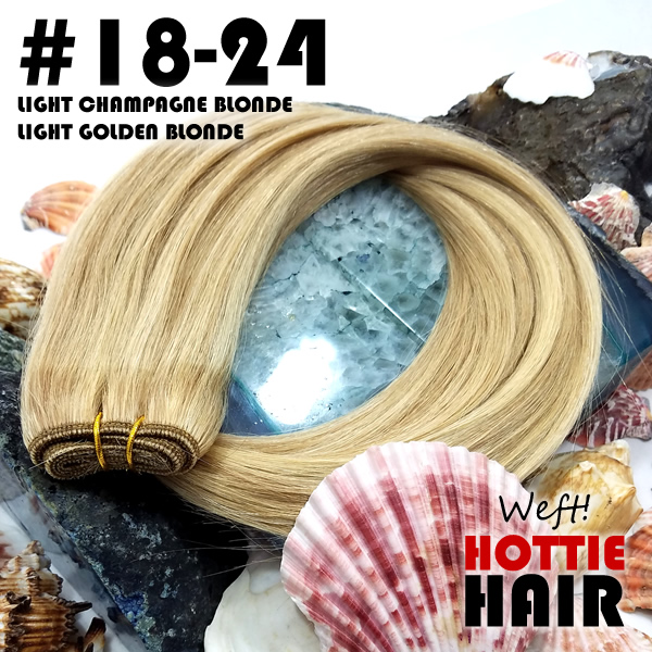 Highlight Brown and Blond Russian Remy Weft Hair Extensions in Las Vegas Displayed on Stone with Seashells