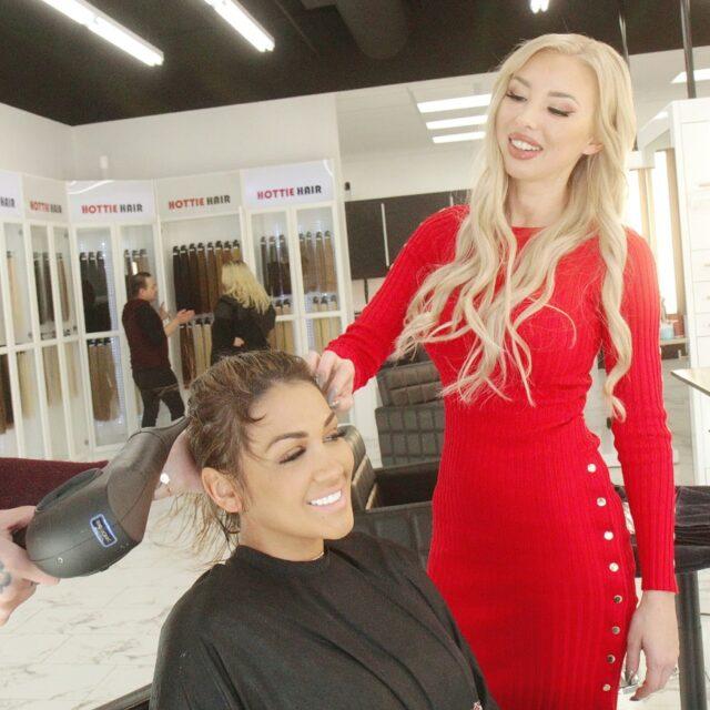 Client getting hair services at Hottie Hair Salon Las Vegas & hair extensions Las Vegas hair store