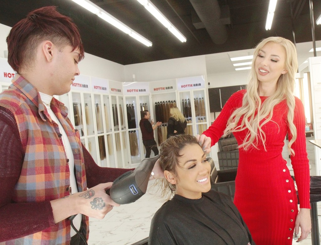 Women Shopping For DIY Hair Extensions in Las Vegas While Another Client is Being Prepped For and Extension Install at Hottie Hair Salon Las Vegas