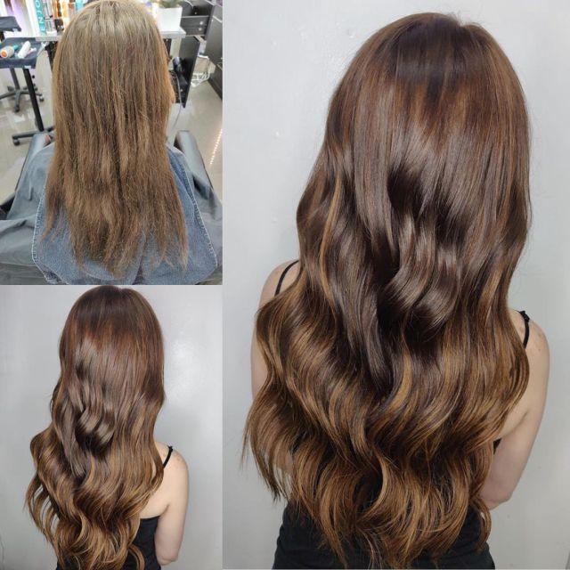 Women Showing Before and After of Clip In Hair Extensions in Las Vegas at Hottie Hair Salon Las Vegas