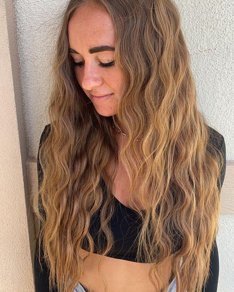 24 Inch Ginger Virgin I Tip Hair Extensions Installed On Women