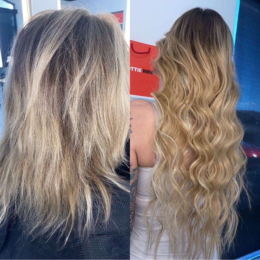 24 Inch Medium Blonde Beaded Weft Russian Hair Extensions Installed On Women