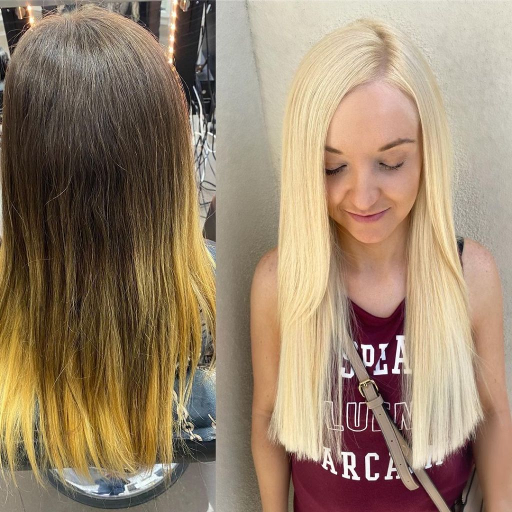 Before After 18 Inch Blonde Russian Virgin I Tip Hair Extensions Installed On Women 1