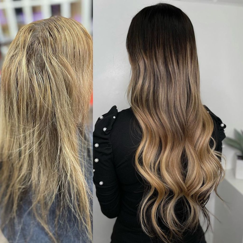 Before After 22 Inch Russian Virgin I Tip Hair Extensions Installed On A Women