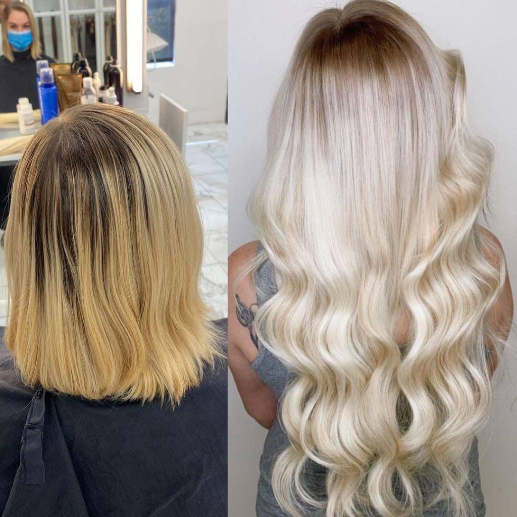 Before After Weft Hair Extensions Short To 26 Inch 1