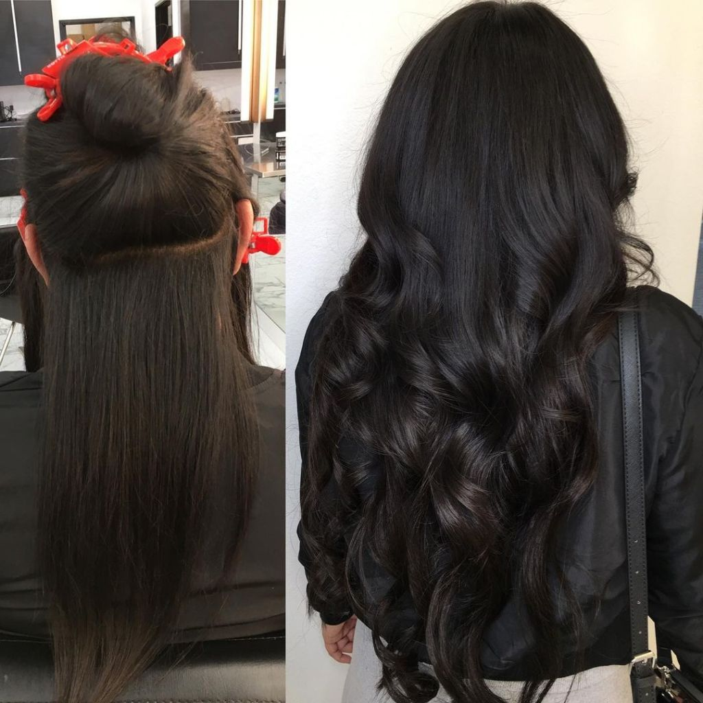 Before After Weft Hair Extensions Short To Long Dark 1