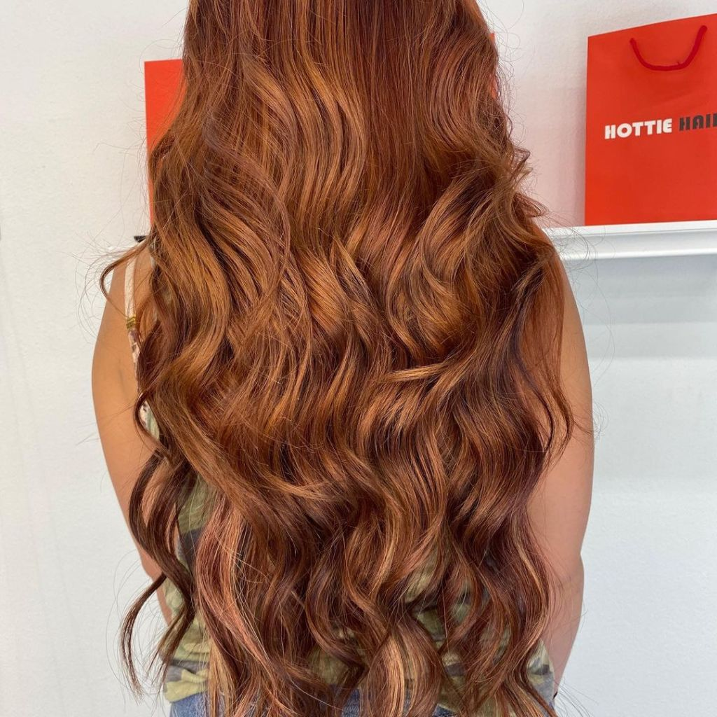 Hand Tied Extensions Long Thick Ginger 1