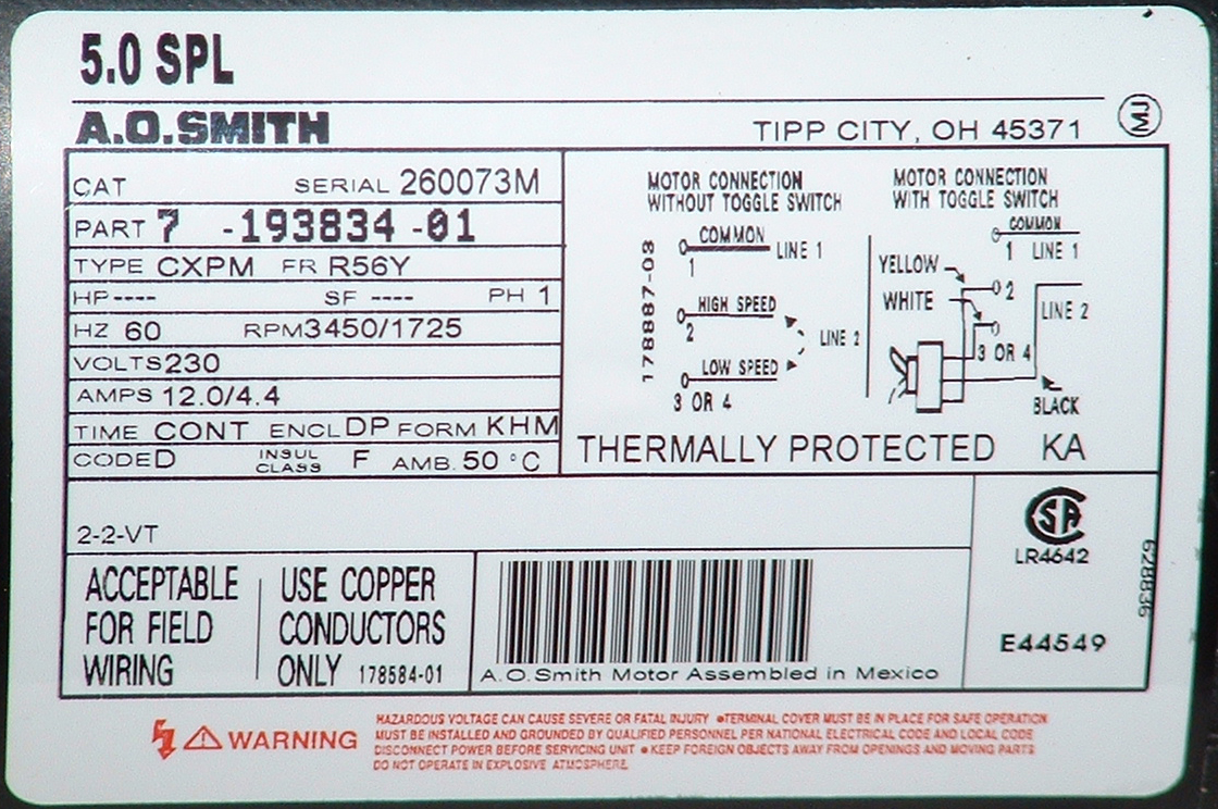 hight resolution of a o smith motor label