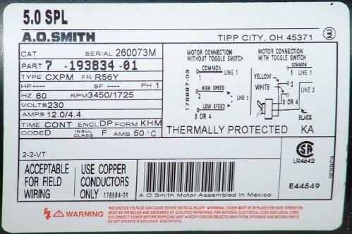 small resolution of a o smith motor label
