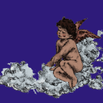 An illustration of a brown skinned angel with curly dark hair, sitting on one of the fluffy white clouds.