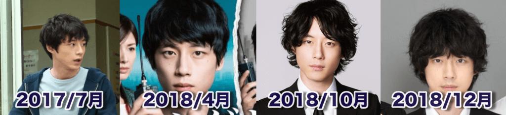 坂口健太郎、髪型、変遷