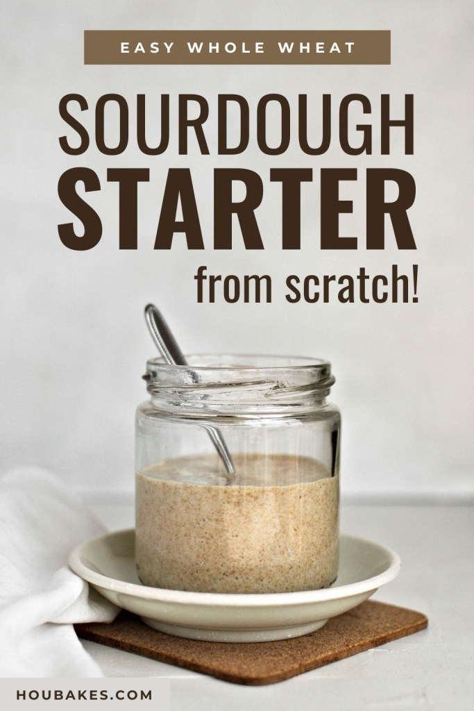 pinterest pin of sourdough starter in a small glass jar with a spoon and saucer